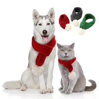 Haustier Weihnachten Gestrickte Schal Hundebekleidung Katze Kleidung Welpen Kätzchen Dekoration Mini Christmasscarfs Haustier Hundetücher Zze5419