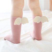 Baby loto ginocchio al ginocchio alti calzini per ragazze autunno carino calzini 3d angelo ali per bambini bambino zucchero colore calzino morbido calzino per bambini gambe caldi per bambini A0513