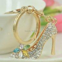 Keychains Colorful Flower Women High Heel Shoes Keyring Fashion Jewelley For Girl Rhinestone Crystal Charm Key Bag Chain Birthday Gift