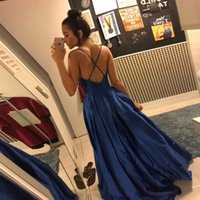 Satin Deep V-neck Prom Dresses Woman Formal Evening Party Gowns A Line Long Robes De Soiree