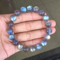 Natural Labradorite Ice Rainbow Light Crystal Clear Round Beads Bracelet Women Men 10mm 11mm 12mm 13mm 14mm Grey Moonstonenew