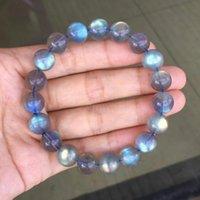 Natural Labradorite Ice Rainbow Light Crystal Clear Round Beads Bracelet Women Men 10mm 11mm 12mm 13mm 14mm Grey Moonstonenew