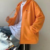 Zijun Mens 착용 2021 봄 후드 가디건 스웨터 남성 패션 브랜드 솔리드 컬러로 느슨한 캐주얼 학생 스포츠 자켓 축구 유니폼