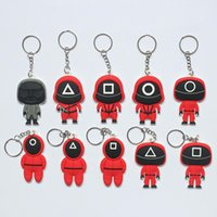 Soft Silicone Squid Game Keychains Cellphone Straps Silica Gel Mini Figurine Car Key Rings Halloween Cosplay Costume Decoration Pendant Square Round Triangle
