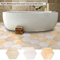 Wall Stickers 10pcs 3D Wood Grain Headboard Home Living Room Hexagon Self-Adhesive Floor DIY Teen Decor Wallpaper