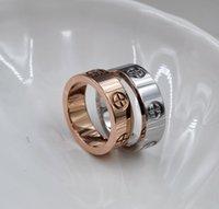 Titanyum Çelik Altın Yüzük Severler Için Hiçbir Elmas Çift Yüzükler Erkekler Ve Kadınlar Moda Takı Rosegold Gümüş 3 Renkler Hediye