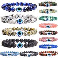 Beaded Strand 8MM Natural Stone Evil Eye Bracelet Handmade Hematite Tiger Elastic Crystal Bracelets Women Men Reiki Jewelry Yoga