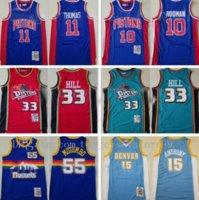 Top 100% cosido Isiah Thomas Jersey 11 Dennis Rodman 10 Grant Hill 33 Dikembe Mutombo 55 Carmelo Anthony 15 Mitchell and Ness Baloncesto
