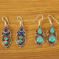Gioielli tibetani vintage Handmade Donne orecchini in rame intarsio Lapis turchese in pietra pendenti orecchini lampadario