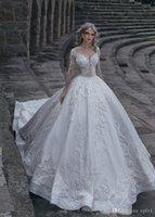 2021 Weiße Spitze Brautkleider Ballkleid Winter Muslim Langarm Plus Größe Satin bescheidene Brautkleider