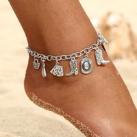 Anklets Hesiod Personality Boots Hats Dress Umbrella Cowboy Pendant Chain Anklet Women Ankle Bracelet Summer Beach Jewelry