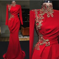 High Collar Red Mermaid Evening Dresses with Gold Lace Appliqued 2020 Luxury Beading Prom Gowns Long Sleeves Vestidos de gala
