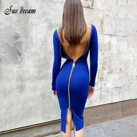 Casual Dresses Summer 2021 Women's Fashion Sexy Two Ways To Wear Zipper Design Long Sleeve Bandage Dress Bodycon Celebrity Party Club