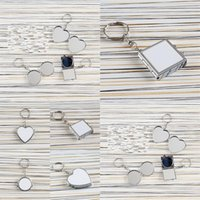Heat Transfer Key Chain Double Sided Sublimation Blanks Love Heart Circular Square Metal Ring Mirrors Buckle Printing Photo GWE6746
