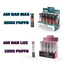 Air Bar Max Lux E-Cigarettes Обратная одноразовое устройство CIGARETTES 1000/2000 Puffs 6.5 мл Предварительно заполненные вершины PODS 1250 мАч Аккумуляторная батарея Flum PK Elf Geek