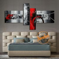 100% Pintado a mano Moderno decoración abstracta pintura al óleo imagen para el hogar para la sala de estar de la pared Arte de la pared Canvas 4 pieza Sin marca de ilustraciones Pinturas