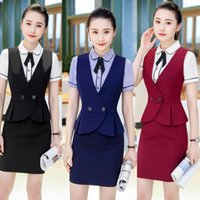 Work Dresses IZICFLY Summer Veste Blazer Suit Female Vest Waistcoat Formal Plus Size Office Lady Elegant Style Skirt For Women Wear 4XL