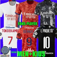 المشجعين لاعب الإصدار 21 22 مايوه ليون لكرة القدم الفانيلة Shaqiri 2021 2022 Lyonnais Reine AOL Delaide Dembele Aouar L.Paquetá Bruno G. Men Kids Kit قمصان كرة القدم الأعلى