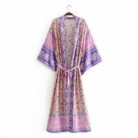 Shopping Drop Style Style Oversize Donne Camicette Duster Shrug Print Boho Chic Long Kimono Dress Femme