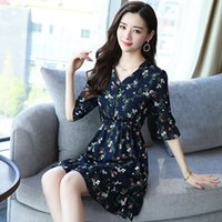 Yaz Vintage Şifon Çiçek Boho Gömlek Elbise 2021Korean Zarif Kadın Parti Mini Elbiseler Casual Sun Beach Vestidos