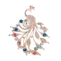 Fashion Delicate Peacock Flower With Diamonds Brooches Crystal Pin Brooch For Women Pendant Jewelry Accessories Gift