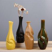 Accueil Décoration Nordic Ins Style chinois Rétro Céramique Créative Art Creative Vase Bureau Fleur Arrangement Feuille De Bureau Ornements Vases