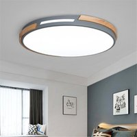 Ceiling Lights Simple Light LED Circular Lamp Iron Wood Nodic Panel For Bedroom Living Dining Room Decoration Fixture AC85-265v