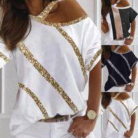 Women's T-Shirt Fashion Sequins Stripe Stitching White 2021 Summer Sexy Off Shoulder Short Sleeve Tshirt Women Casual Street Black Tops