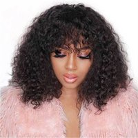 Brasilianisches menschliches Haar lockige Perücke mit Pony Natürliche Farbe Keine Spitzenmaschine Kurz Bob Perücken für schwarze Frauen