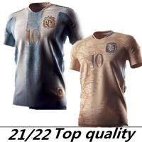 2021 Argentinien Messi Retro 1978 1986 Maradona Fussball Jersey Argentinien Konzept Sonderzeichen Goldene Elements Fußball-Hemd