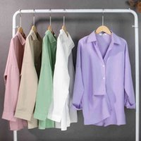 Colorfaith Spring Women's Blouse Solid Multi Colors Lapel Single-breasted Elegant Casual Oversize Wild Tops BL1383