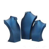 Imballaggio GioielliPackaging Blu PU Leather Jewellery Set Display Stand Supporto per gioielli Anello Orecchini Collana Collana Busto Collo Forma per Boutique Finestra DR