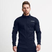 Mens Jackets Sports Fitness Long Sleeve Sweater Autumn Winter Slim Zipper Casual Cardigan Side Stripe Letter Printing Turtleneck M-XXL