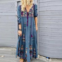 Casual Dresses Women's Plus Size V Neck Print Lace Up Long Sleeve Boho Dress Party Maxi Ankle-Length Straight Vestido Ladies Ropa Mujer