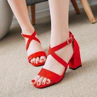 Fanyuan Женщины Санссаллы Толстые каблуки Сандалии на высоком каблуке Открытый Новый Плюс Размер Женская Обувь Белые и Розовые Дамы
