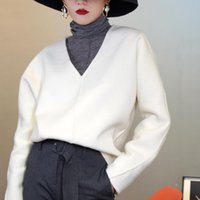 Женский свитер Nordic V-образным вырезом шерсть и кашемировые двойное лицо пальто нормокольный минималистский стиль женские свитера