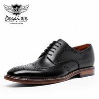 Desai New Arrivals 남성 비즈니스 드레스 정품 가죽 신발 레트로 신사 공식 조각 된 무리 북지 브로그 공식 신발 남자 E0yl #