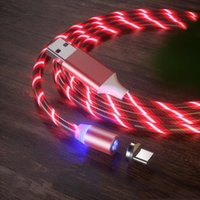 마그네틱 케이블 3 빠른 충전기 LED 흐르는 빛 유형 C 케이블 빠른 충전 라인 2A 마이크로 USB 케이블 충전기 코드