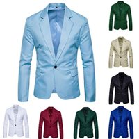 QNPQYX Casual Mens Suit Solid One Button Red Blazer Outdoors Slim Fit Jacket Man Long Sleeve 8 Candy Color Suits Plus Size