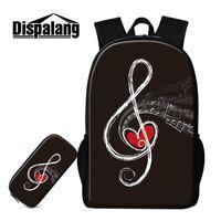 Backpack Dispalang Children Fashion Schoolbag With Pencil Case Musical Note To School Bag Set Student Bagpack Bookbag Penbox