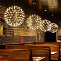 현대 로프트 불꽃 놀이 펜 던 트 조명기구 스파크 공 교수형 램프 lustres 스테인레스 스틸 샹들리에 라운드 홈 조명 ac110-240