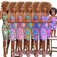 الصيف الأم الفتيات الأسرة أكمام حللا أمي وابنتها رومبير النساء طفل الفتيات أزياء الأسرة مباراة ملابس ملابس H42811