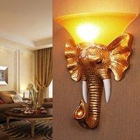 الذهب الفيل الديكور المنزل الشمعدانات الإضاءة الجدار أضواء تركيبات شرفة ريفي مصباح الشرفة الأوروبية الغريبة الحمام أدى الفاخرة