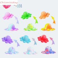 US Stock 6 Color Fidget Toys Funny Rainbow Overturned Octopus Expression Flip Doll Silicone Decompression Pendant Toys Birthday Gifts