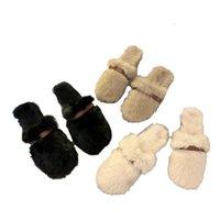 Pantofole BAOTOU Flat Bottom Net Red Donne Indossare Style Muller Scarpe in autunno e inverno Pantofole in lana di lana di coniglio