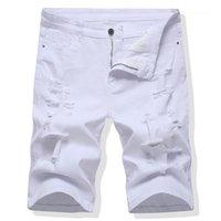 Hose Sommer Jeans Shorts für männliche Plus Größe Männer Capris Jeans Herren Slim Casual Gerade Hosen Loch Lose