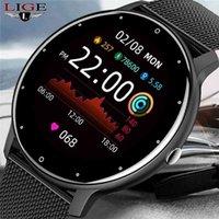 Designer luxo marca relógios lige mulheres inteligentes homens completos tela de toque esporte fitness à prova d 'água Bluetooth para android ios inteligente
