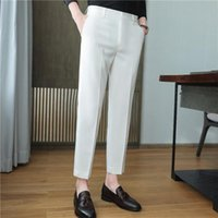 Men's Suits & Blazers High Quality Korean Summer Solid Drape Suit Pants Men Clothing 2021 Simple Slim Fit Ankle Length Office Trousers Forma