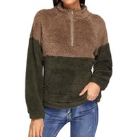 Women's Hoodies & Sweatshirts Feitong Hooded Sweatshirt Winter Long Sleeve Fleece Warm Zip Patchwork Fuzzy Hoodie Pullover Sudadera Mujer