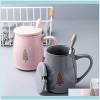 Mugs Drinkware Kitchen, Dining Bar Home & Gardeneuropean Style Christmas Pine Tree Mug Retro Golden Mouth Bone China Coffee Couple Creative